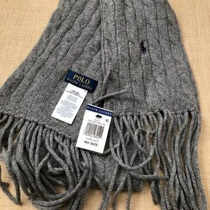 Polo Ralph Lauren Gray Cable Knit Long Scarf